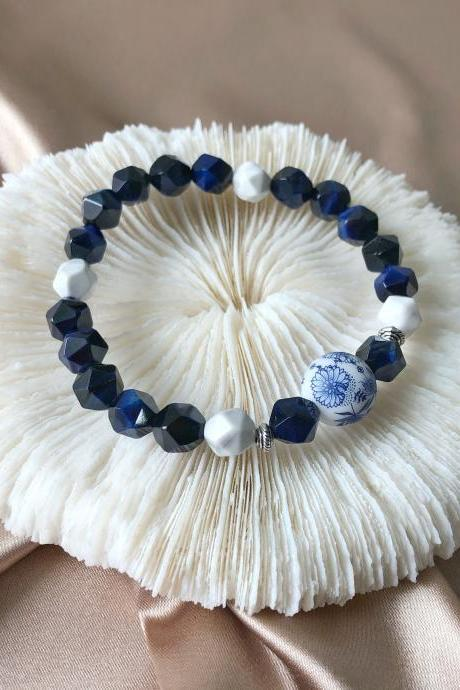 Blue Tiger Eye & Howlite Bracelet