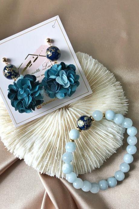 Aquamarine Bracelet and Earrings Set