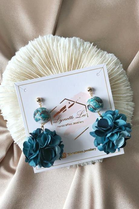 Multi-gradient Blue Floral Ball Earrings